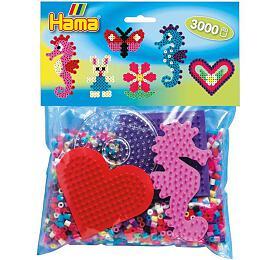 Zažehlovací korálky Hama plast 3000ks + 4 podložky v sáčku 19x21x5cm - Lowlands