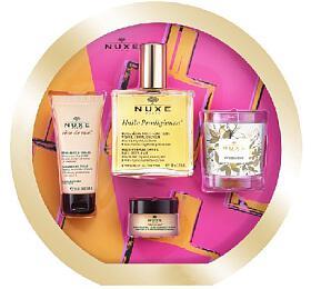 Nuxe Prodigieux Culte dárková sada (suchý olej Huile Prodigieuse 100ml + krém na ruce Reve de Miel 30ml + balzám na rty Reve de Miel Honey 15g + vonná svíčka Prodigieux 70g) - Nuxe
