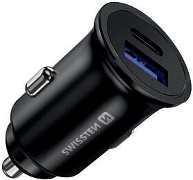 SWISSTEN CL ADAPTÉR POWER DELIVERY USB-C + QUICK CHARGE 3.0 36W METAL ČERNÝ (20111760) - Swissten