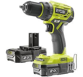 Ryobi R18DD7-220S, aku bezuhlíkový 18 V šroubovák/vrtačka + 2x 2Ah baterie + nabíječka ONE+ - Ryobi