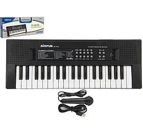 Pianko/Varhany/Klávesy 37 kláves plast napájení na USB + mikrofon 40cm v krabici 41x15x4cm - Teddies