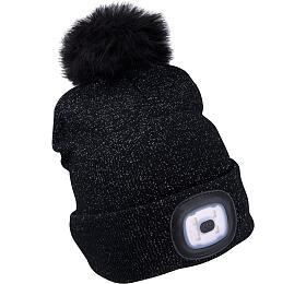 Čepice s čelovkou 4x45lm, USB nabíjení, černá se třpytkou a bambulí, univerzální velikost EXTOL-LIGHT - EXTOL