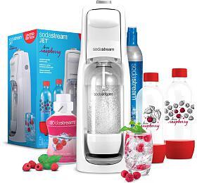 SET Výrobník sody SodaStream JET WHITE + Lahev 2x1l + Příchuť malina 500ml - SodaStream