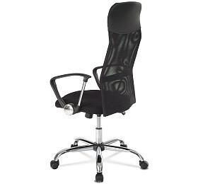 Kancelářská židle s podhlavníkem z ekokůže, potah černá látka MESH a síťovina MESH, houpací mechanismus, kovový kříž Autronic KA-E305 BK - Autronic