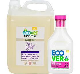 SET Tekutý prací prostředek Ecover koncentrovaný 5 l ECOCERT + Aviváž Květy jabloně a mandle 750 ml - Ecover