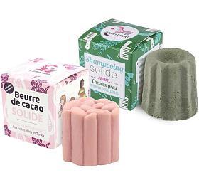 SET Tuhý šampon Lamazuna pro mastné vlasy Lamazuna (55 g) + Tuhé kakaové máslo růžové BIO (55 g) - Lamazuna