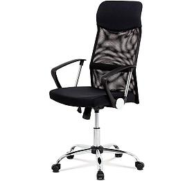 Kancelářská židle řady BASIC, potah černá látka a síťovina MESH, houpací mechanismus, kovový chromovaný kříž Autronic KA-E301 BK - Autronic
