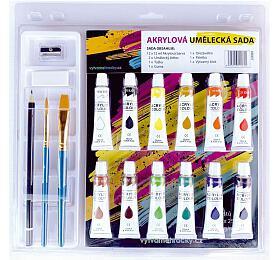 Barvy akrylové 12ml 12ks se štětci 2ks s blokem s doplňky na kartě 31x31cm - SMT Creatoys