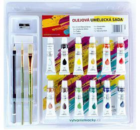 Barvy olejové 12ml 12ks se štětci 2ks s blokem s doplňky na kartě 31x31cm - SMT Creatoys