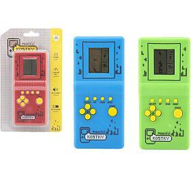 Digitální hra Padající kostky hlavolam plast 7x14,5cm 3 barvy na baterie se zvukem na kartě - Teddies
