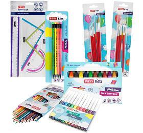 Balíček pro školáka Easy - pastelky, fixy, voskovky, štětce, tužky, pravítka - EASY