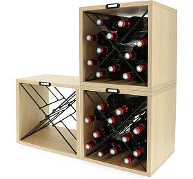 SADA 3x stojan na 12 láhví vína Compactor CUBE X, dekor dub, 36 x 30 x V36,5 cm - Compactor