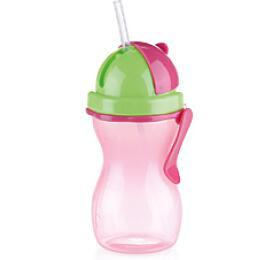 Dětská láhev s brčkem Tescoma BAMBINI 300 ml, zelená, růžová - Tescoma
