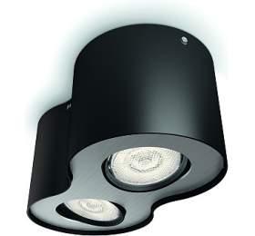 Phase SVÍTIDLO BODOVÉ LED 2x4,5W 1000lm 2700K, černá Philips lighting 53302/30/16 - Philips lighting