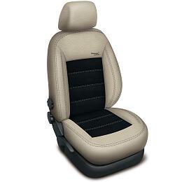 Autopotahy Volkswagen GOLF V PLUS, AUTHENTIC LEATHER, béžovočerné SIXTOL - Sixtol