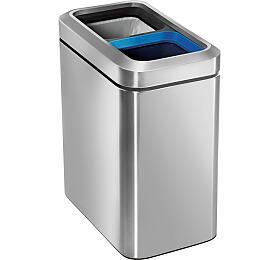 Odpadkový koš na tříděný odpad, Simplehuman 20 l (10/10), otevřený, kartáčovaná nerez ocel CW1470 - Simplehuman