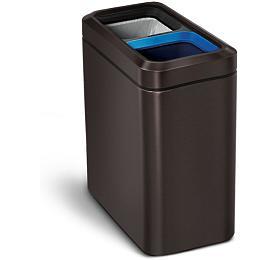 Odpadkový koš na tříděný odpad, Simplehuman – kancelářský 20 L, otevřený, DARK BRONZE - Simplehuman